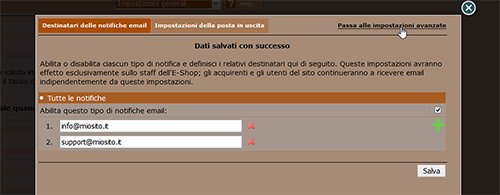 Gestisci le notifiche email su un'e-shop NewCart